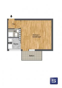 Kleine Stadtwohnung im 2. OG mit Balkon und separater Küche